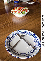 placa, tazón, vacío, ensalada