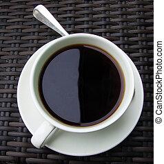 placa, taza para café, cima, cuchara, café, vista