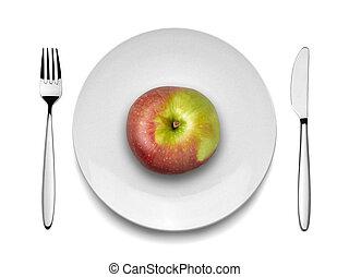 placa, tenedor, blanco rojo, cuchillo, manzana