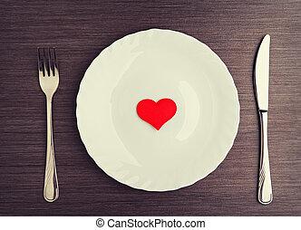 placa, tenedor, cuchillo, y, corazón rojo