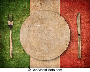 placa, tenedor, y, cuchillo, en, grunge, bandera italiana