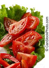 placa, tomates, ensalada, peper