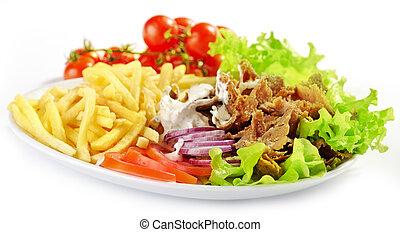 placa, vegetales, kebab