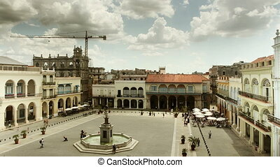 placa vieja timelapse shot from a roof terrace, havana, cuba