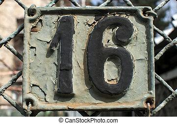 placa, viejo, 16, número, molde, retro, hierro