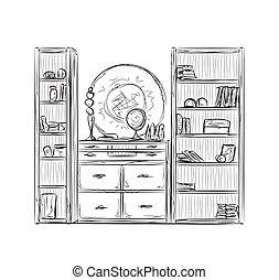 placard, cuisine, shelves., meubles