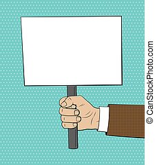 Placard in hand illustration in comic style