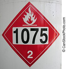 Placard - Liquidafied propane gas sticker warning of hazard....