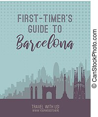 Placard with famous Barcelona city scape. - Flat well known...