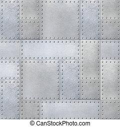 placas aço, metal, rebites, fundo