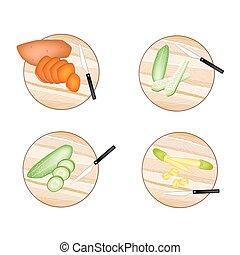 placas, batatas, doce, pepino, corte, corns bebê