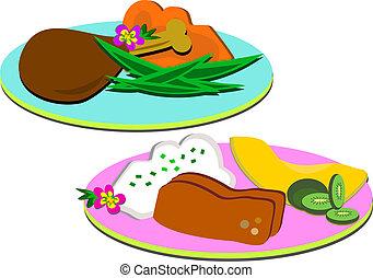 placas, cena, comidas
