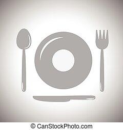 placas, cucharas, tenedores, y, knives(fo