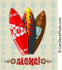 placas, ilustração, surfar, vetorial
