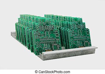 placas, isolado, computador, fundo, branca, fila