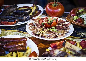 placas, justo, alimento, cocina mediterránea, europeo, españa, medieval