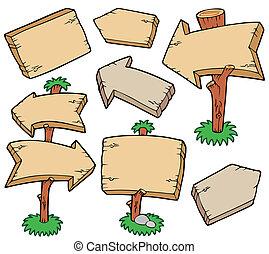 placas madeira, cobrança