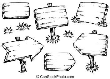 placas madeira, desenhos, cobrança