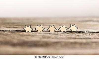 placas, madeira, rústico, cinco, estrelas, fila