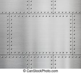 placas, metal, remaches, plano de fondo
