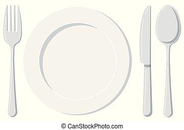 placchi cucchiaio, isolato, coltello, fondo., vuoto, forchetta, bianco