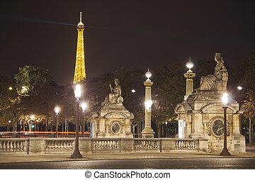 Place de la Concorde by night with the Eiffel Tower, Paris