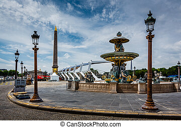 Place de la Concorde on Summer Day in Paris, France