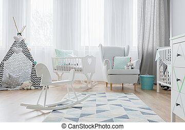Place for a baby in white tones