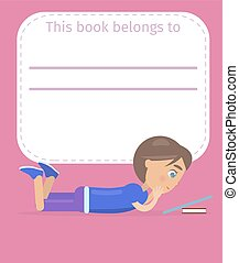 Place for Book Owner Name with Boy Illustration