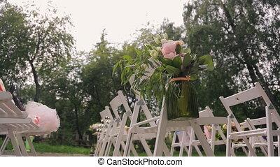 Place for celebration, preparation for wedding ceremony.