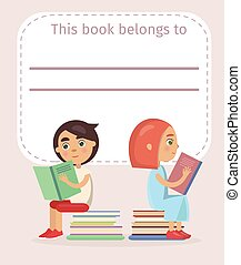 Place for Name Sign on Book with Boy and Girl