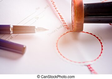 Place for signature of a notary public on the contract. Law...