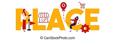 Place illustration of marketing mix strategy the important of location for business vector