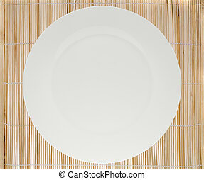 place mat and plate - bamboo place mat with white plate