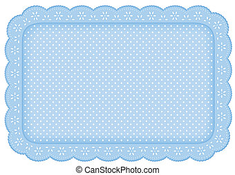 Place Mat Blue Polka Dot Lace Doily
