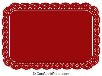 Place Mat, Red Eyelet Lace