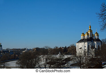 place near the St. Catherine church in Chernihiv, Ukraine, with the park and the city view