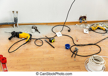 Place of electric socket repair process with drill