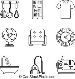 Place of stay icons set. Outline set of 9 place of stay vector icons for web isolated on white background