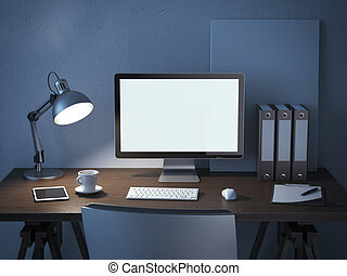 place of work with computer monitor at night. 3d render