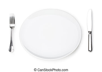 Photo of place in the restaurant: white empty plate with fork and knife near by