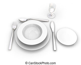 Place setting - 3D render of a place setting