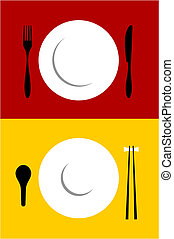 Place setting backgrounds on red and yellow