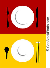 Place setting backgrounds on red and yellow - Place setting...