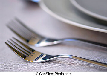 Place setting - Closeup of dinner place setting shallow dof