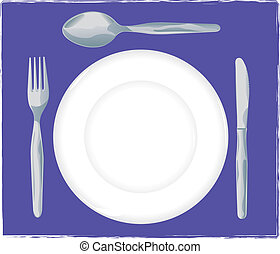 Place setting - Dish, fork, knife and spoon - Vector...