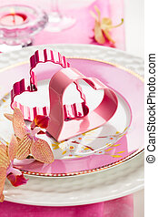 place setting for Valentine's day