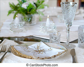 Holiday place setting with candles