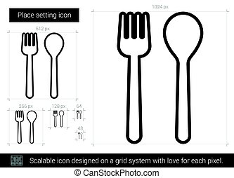 Place setting line icon.
