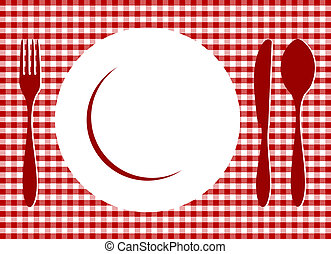Place Setting on red tablecloth - Place Setting. Plate, ...